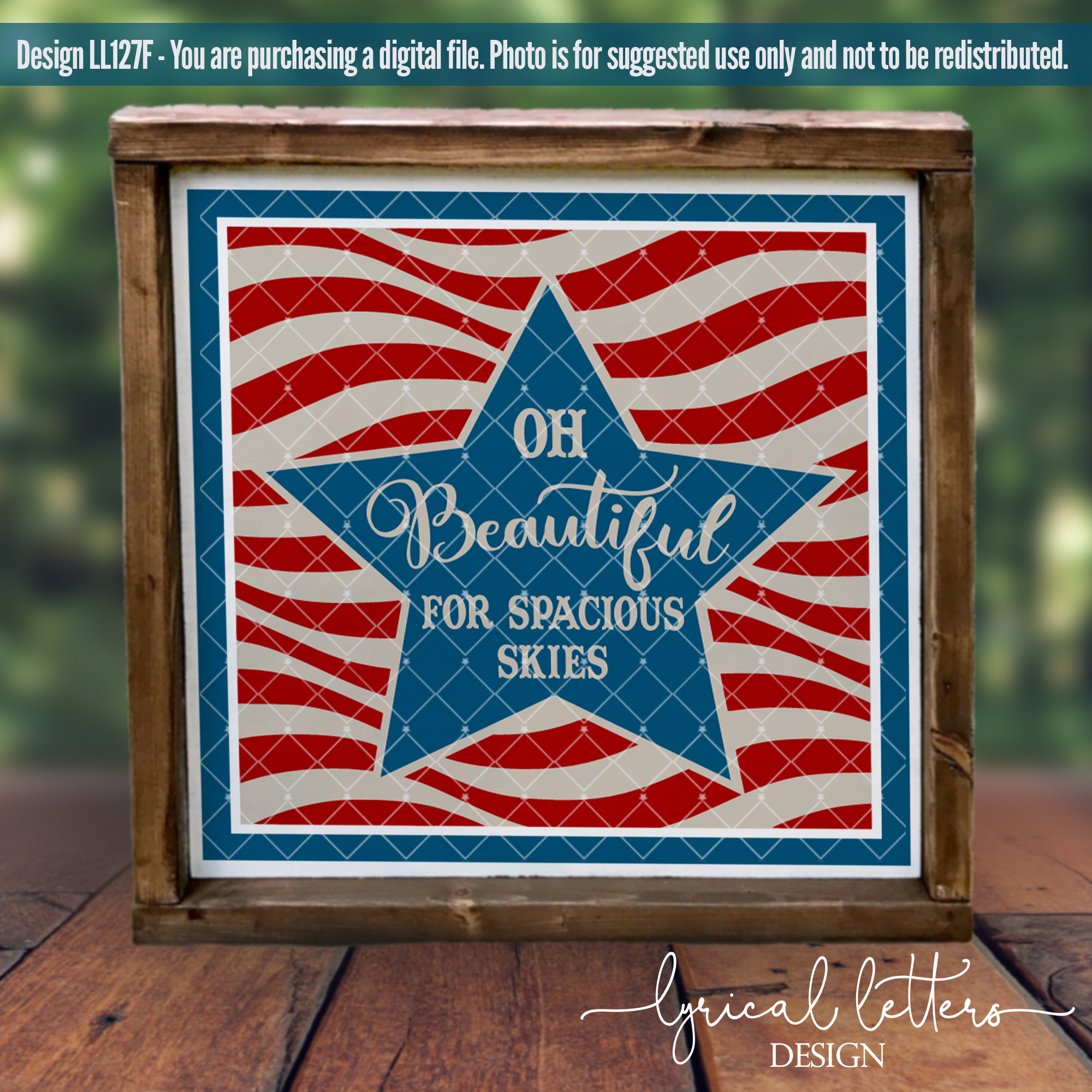 Oh Beautiful For Spacious Skies Patriotic SVG DXF LL127F example image 2
