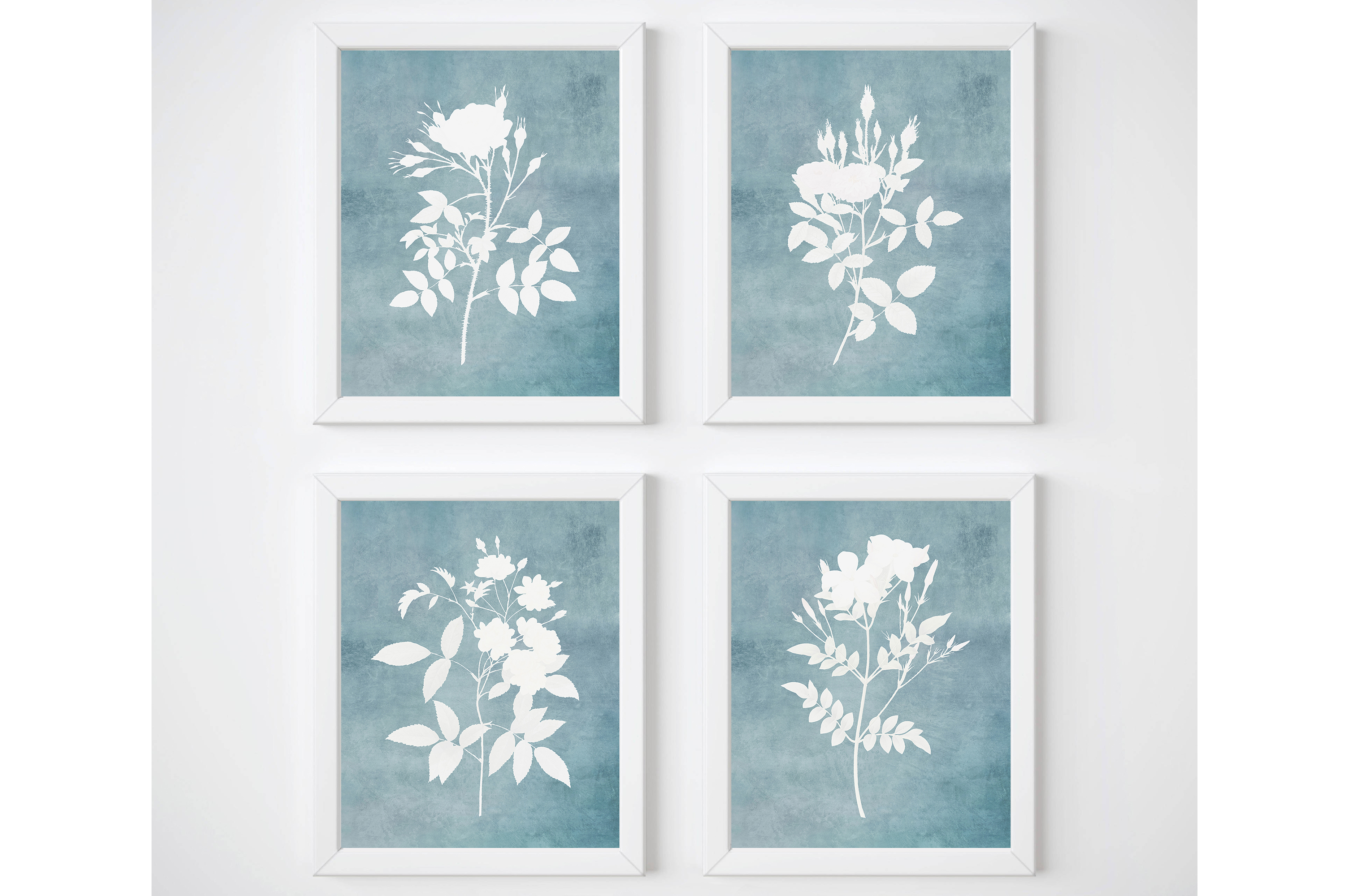 Light Blue Wall Art, Watercolor Flowers Wall Art, Set of 4 example image 1
