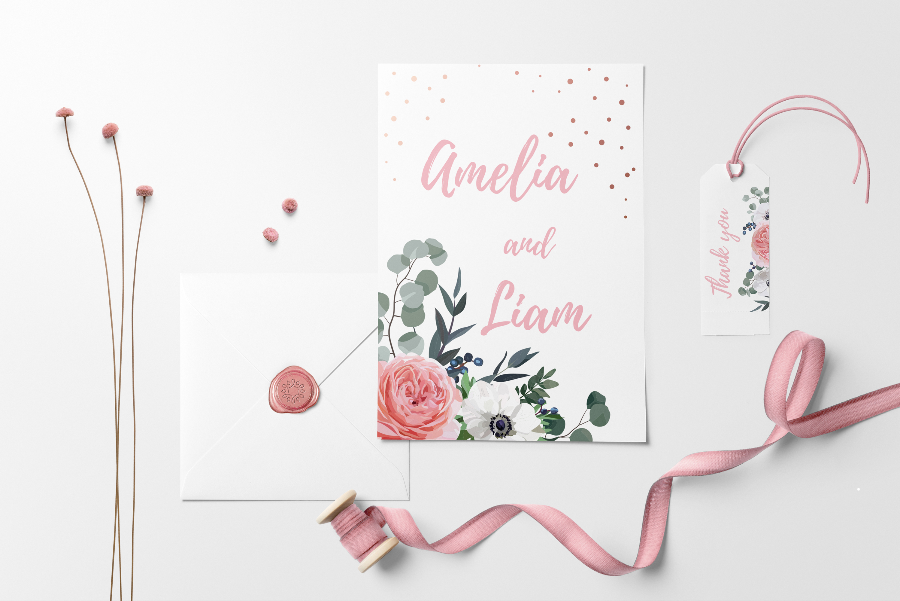 Garden Rose and Anemone - floral vector set example image 4