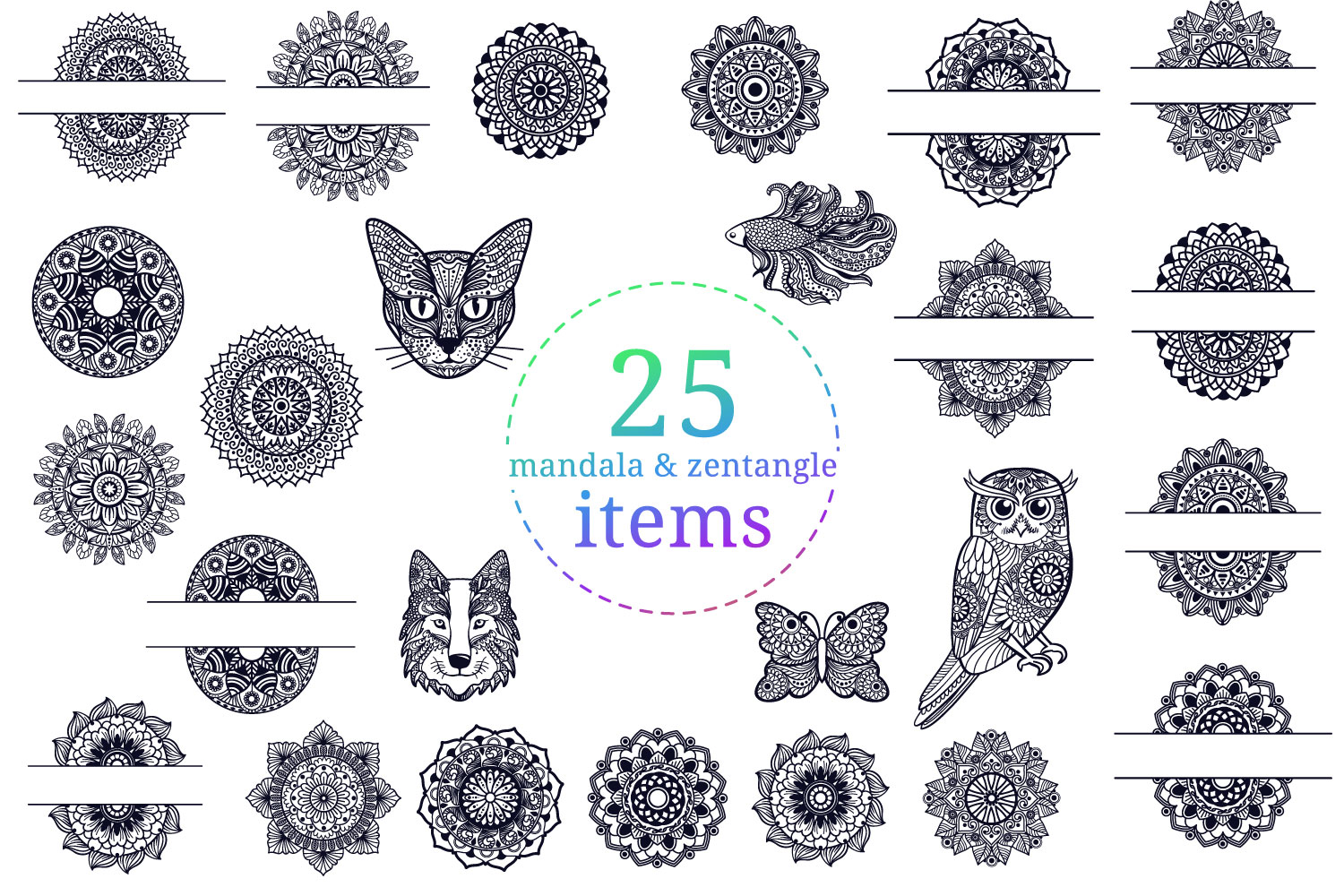 Mandala Bundle II - 25 SVG cut files example image 2