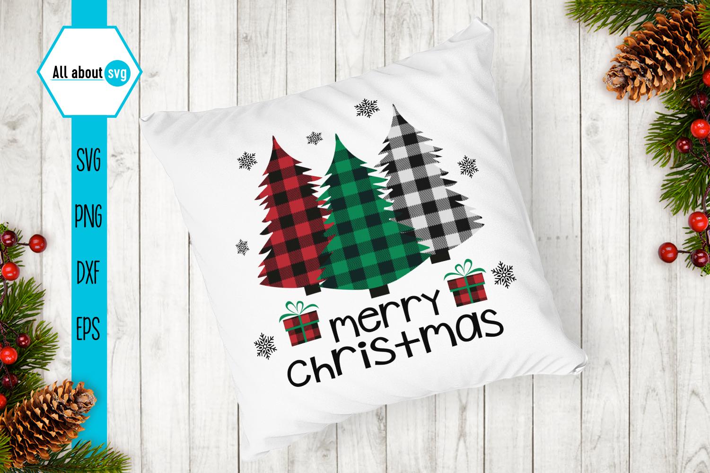 Merry Christmas, Buffalo Plaid Trees Svg example image 4