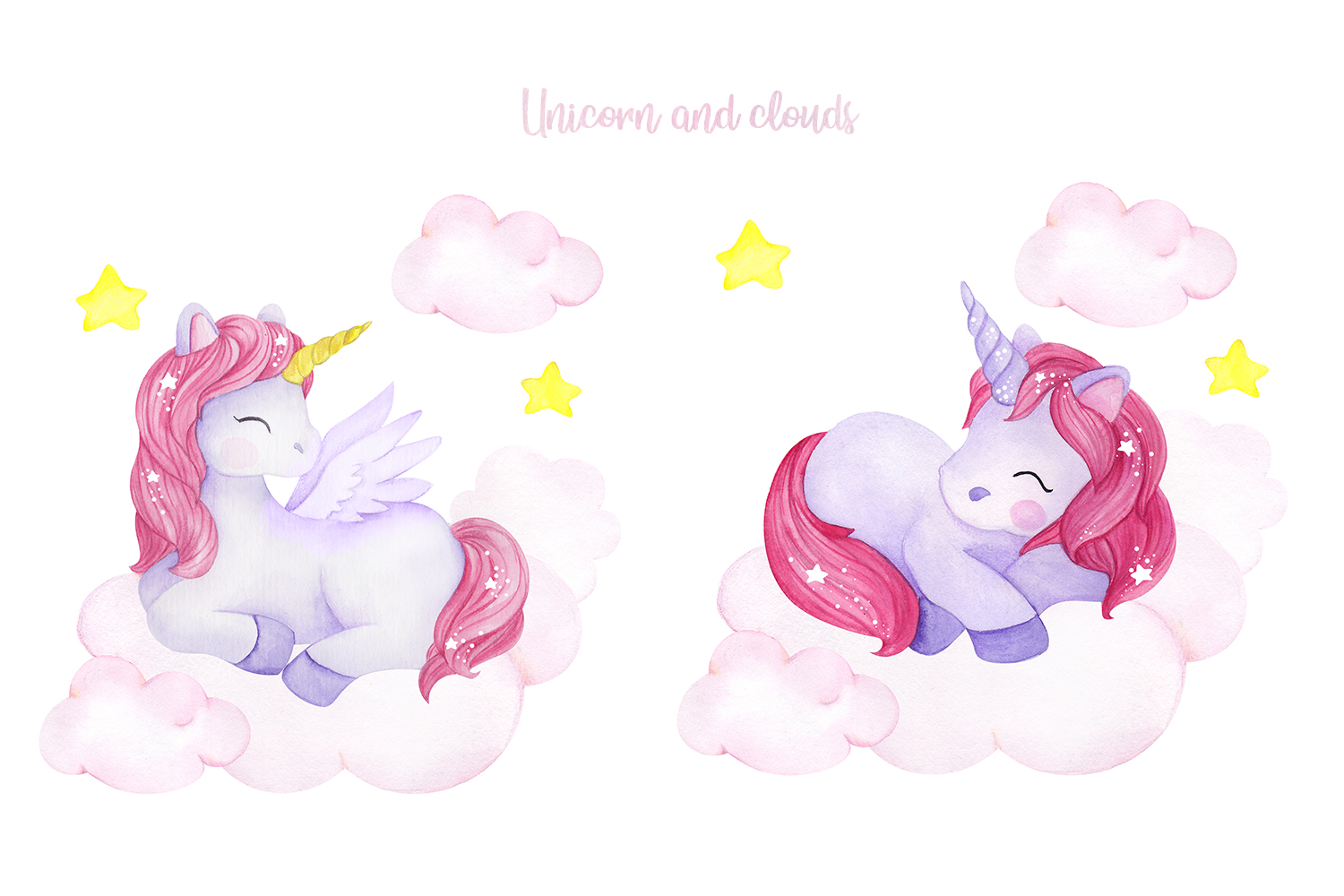 Unicorn set. Watercolor collection example image 4
