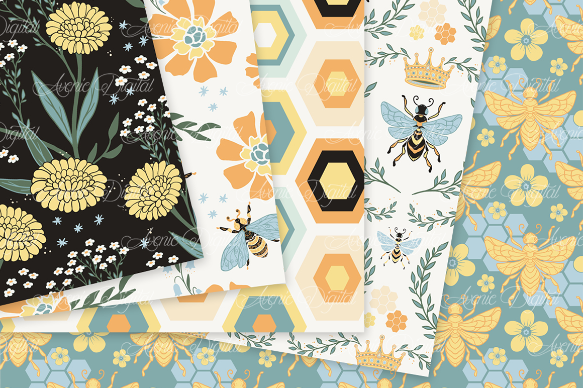 Bee Garden Seamless Vector Patterns and Digital Papers example image 3