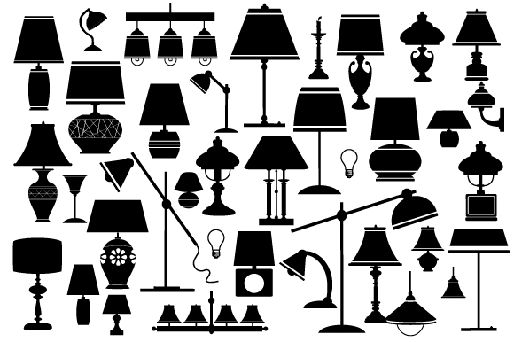 Vector set household lamps and chandeliers example image 2
