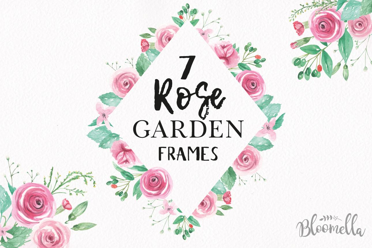 Rose Garden Frames Watercolor Clipart Border Flowers Pink Florals