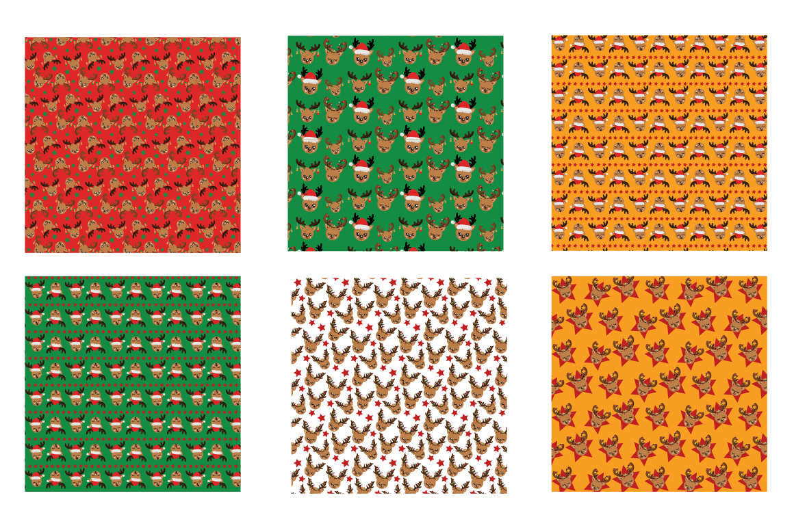 Reindeer faces Pattern collection, vector ai, example image 3