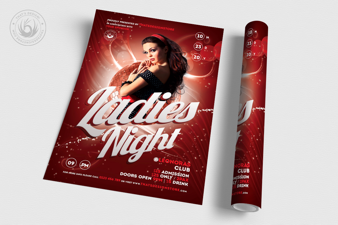 Ladies Night Flyer template V1 example image 3
