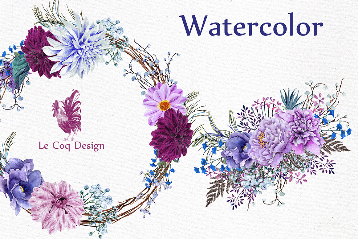 Watercolor Wreaths Clipart example image 3