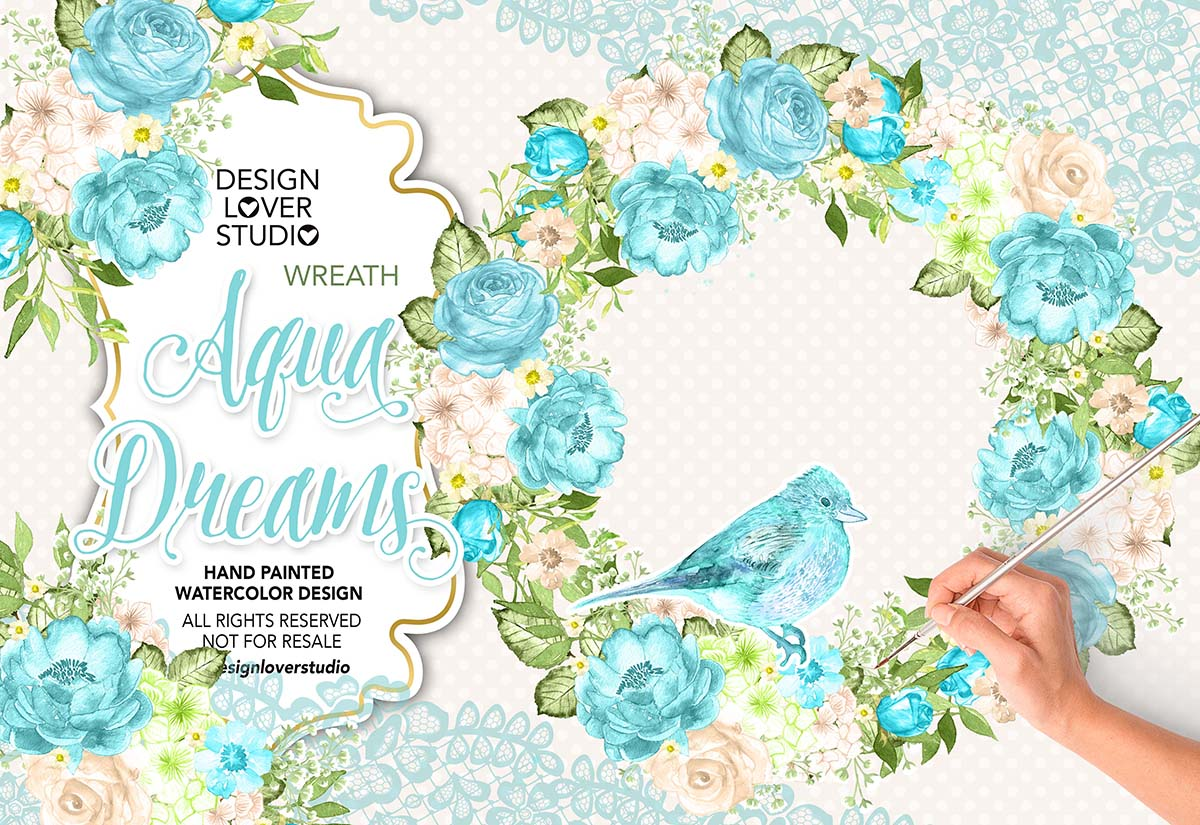Watercolor AQUA DREAMS design example image 1