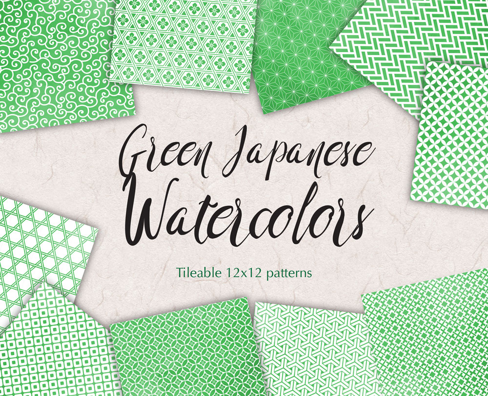 Greenery Digital Paper Japanese Background Patterns in Green example image 1