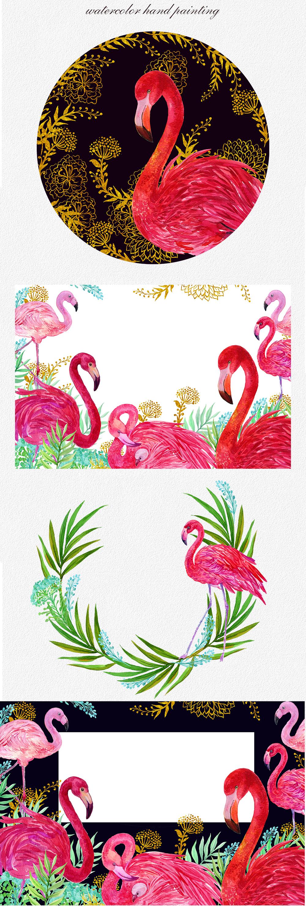 Flamingo.birds clipart. Watercolor Illustration example image 3