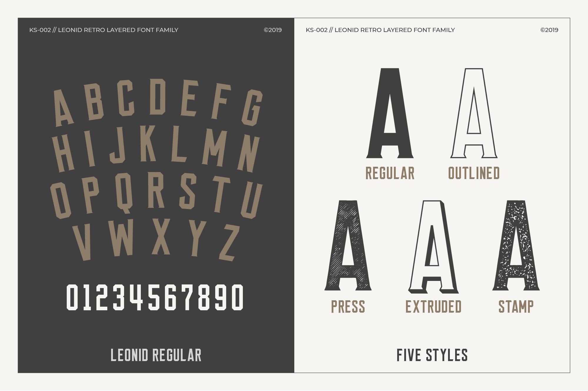 Leonid Retro Layered Font Pack example image 2