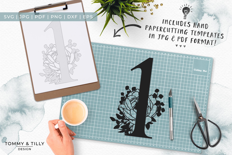 1 - Floral Bouquet Number Design - Paper Cut SVG EPS DXF PNG example image 7