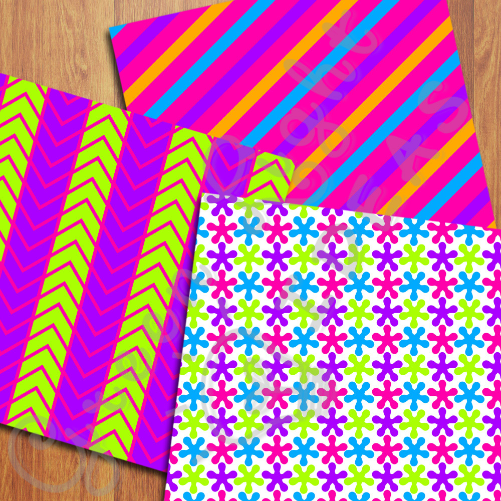 Bright Neon Digital Papers example image 2