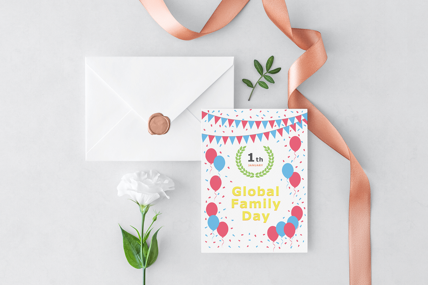 January 01 - Global Family Day. Greeting Card. example image 2