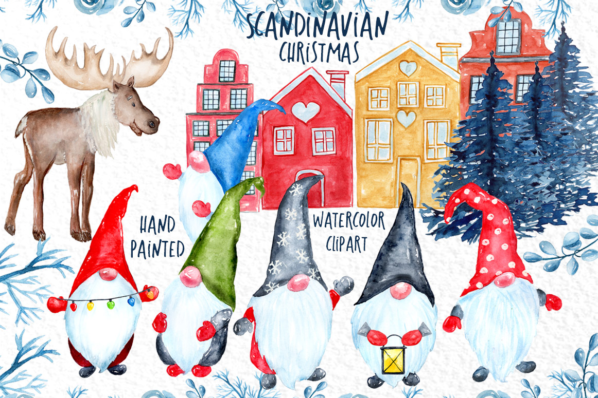 Watercolor Scandinavian Gnome, Christmas clipart example image 1