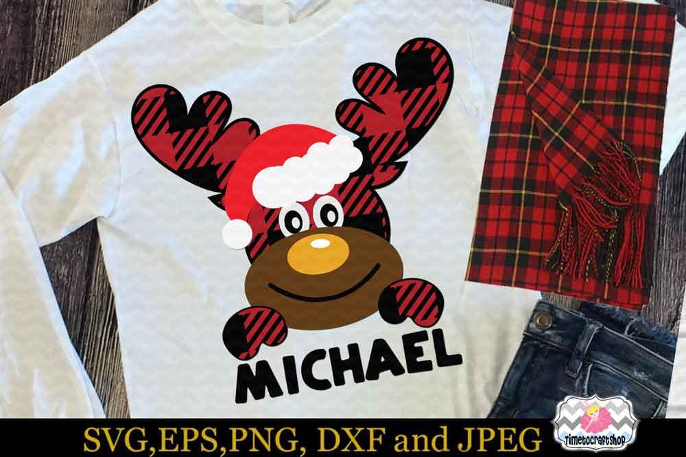 2 Styles Christmas Santa Buffalo Plaid Moose Set example image 2