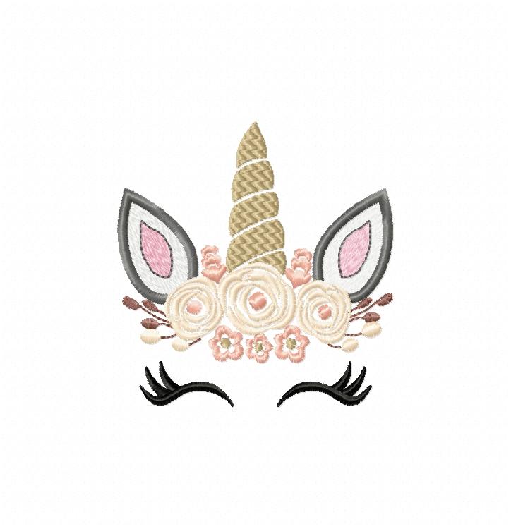 pretty unicorn eyes head floral design design bundles