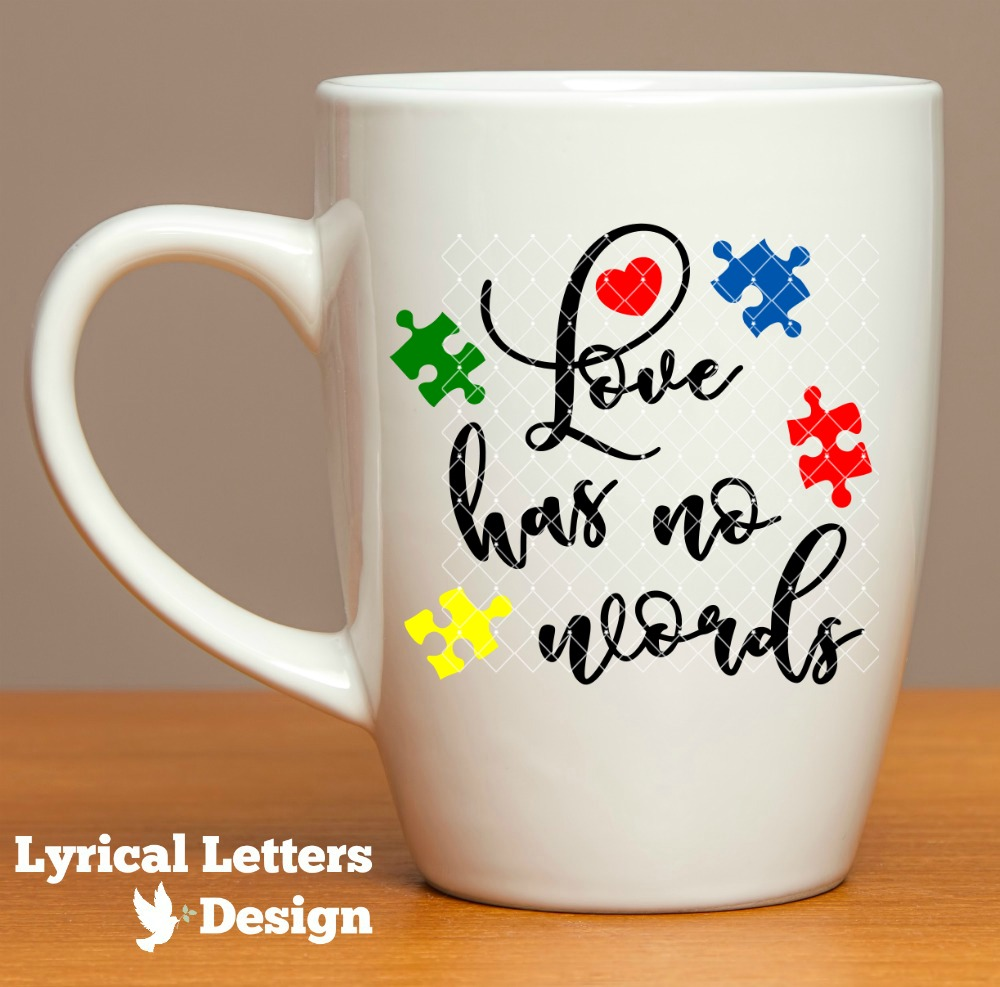 Autism Awareness Love Has No Words With Puzzle Pieces LL180D  SVG DXF FCM EPS AI JPG PNG example image 2