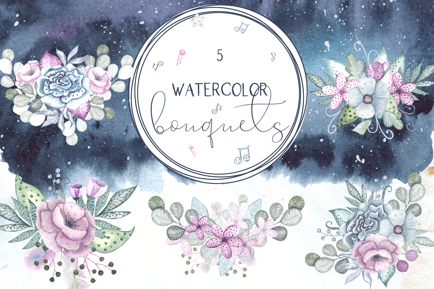 Sweet melody. Watercolor collection example image 4