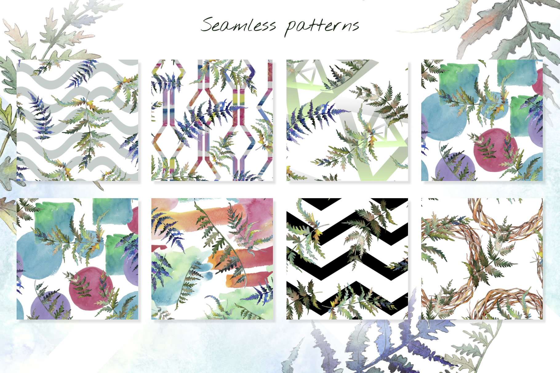 Fern leaf clipart watercolor png example image 6