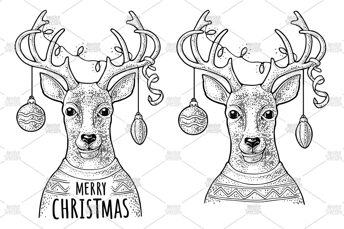 Deer christmas garland dressed sweater. Vintage engraving example image 2