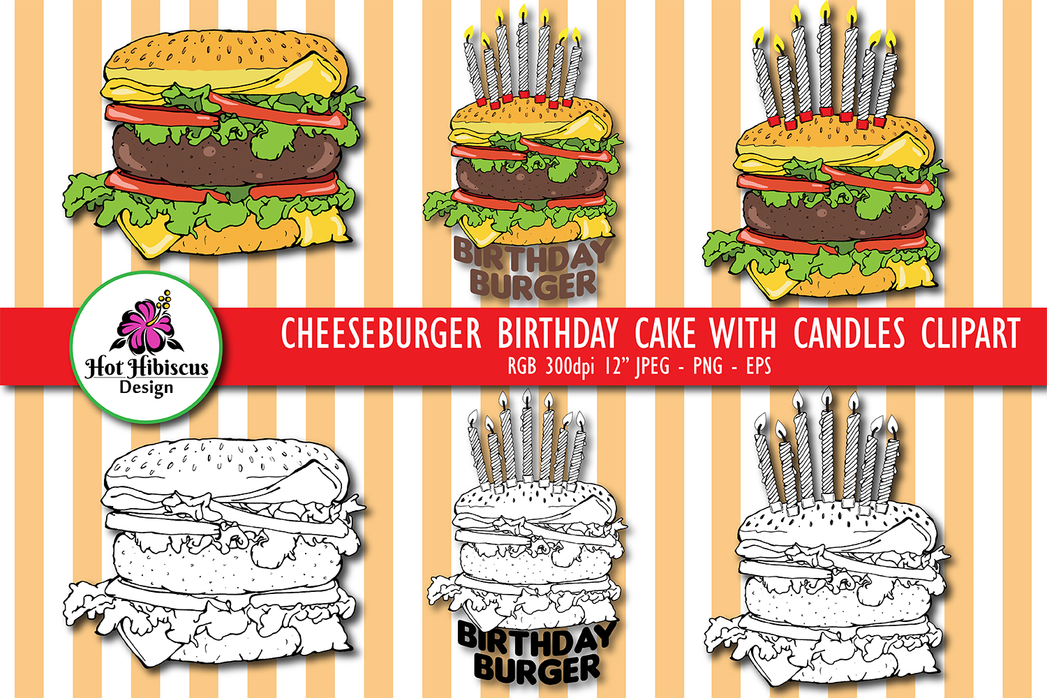 Cheeseburger Birthday Cake with Candles Hand Drawn Clipart example image 1