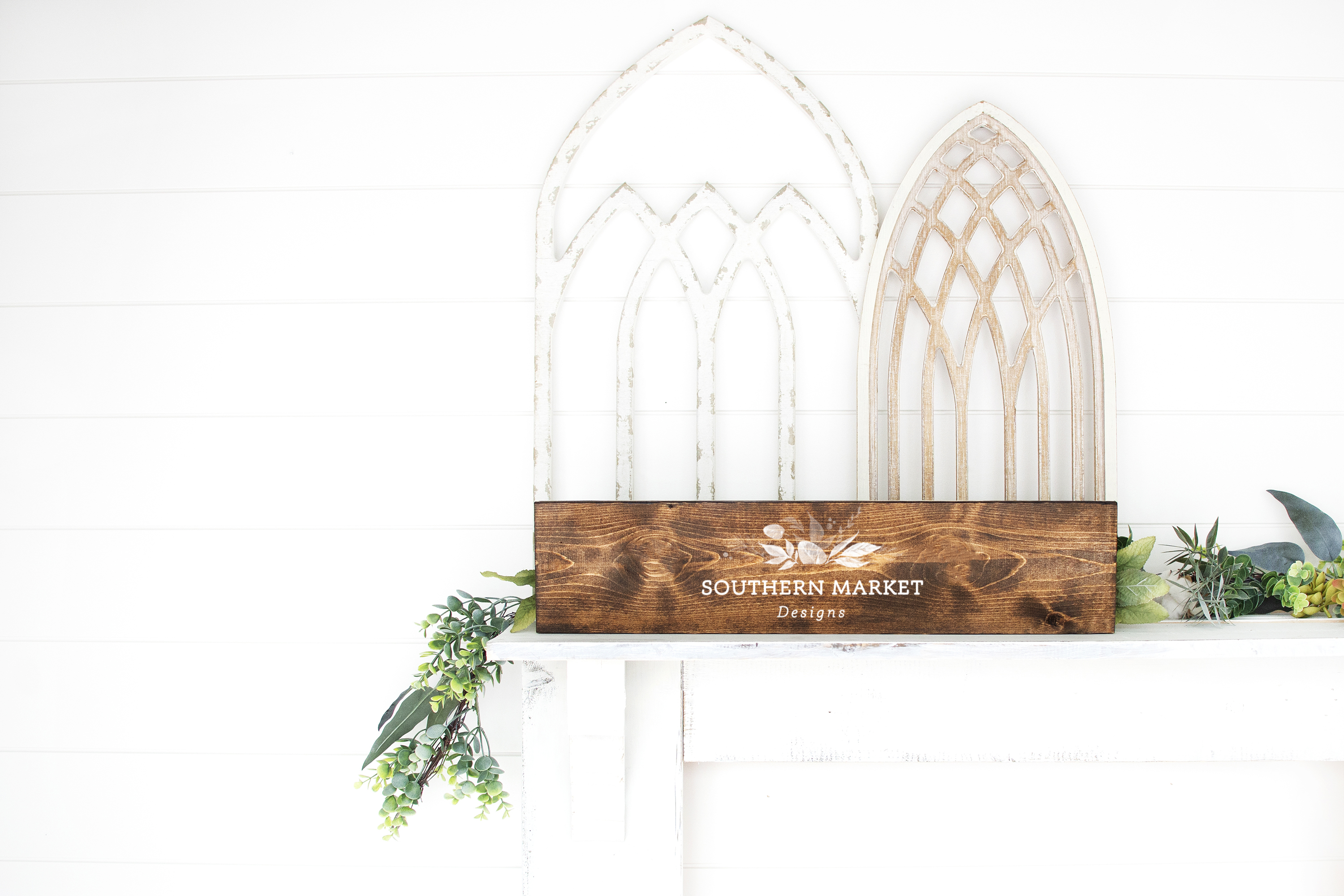 6x24 Stained Wood Sign Mock Up Farmhouse Styled Photo example image 1