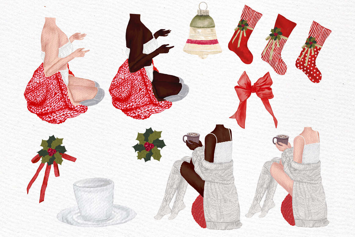 Christmas Girls Clipart, Fireplace and Stockings, Ornaments example image 7