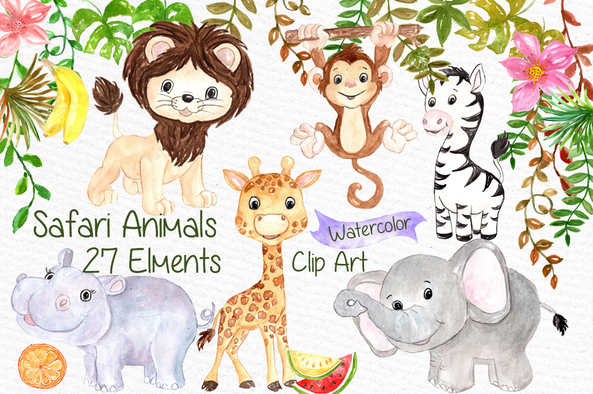 Watercolor Safari animals clipart example image 1