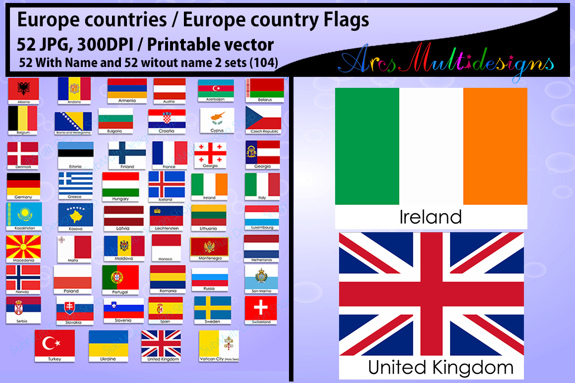 graphic about Printable Country Flags identify Europe nations Europe place Flags region flag 300DPI Vector flags flag clipart and silhouette printable flag electronic flag