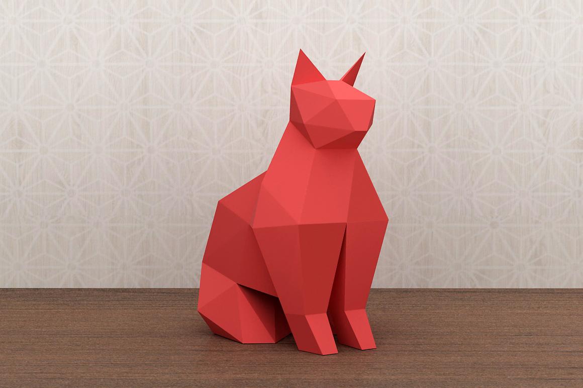 DIY Paper cat - 3d papercraft example image 2