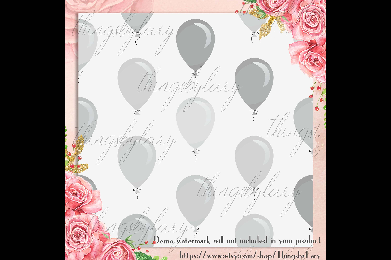 100 Seamless Balloon Pattern Kid Birthday Digital Papers example image 2