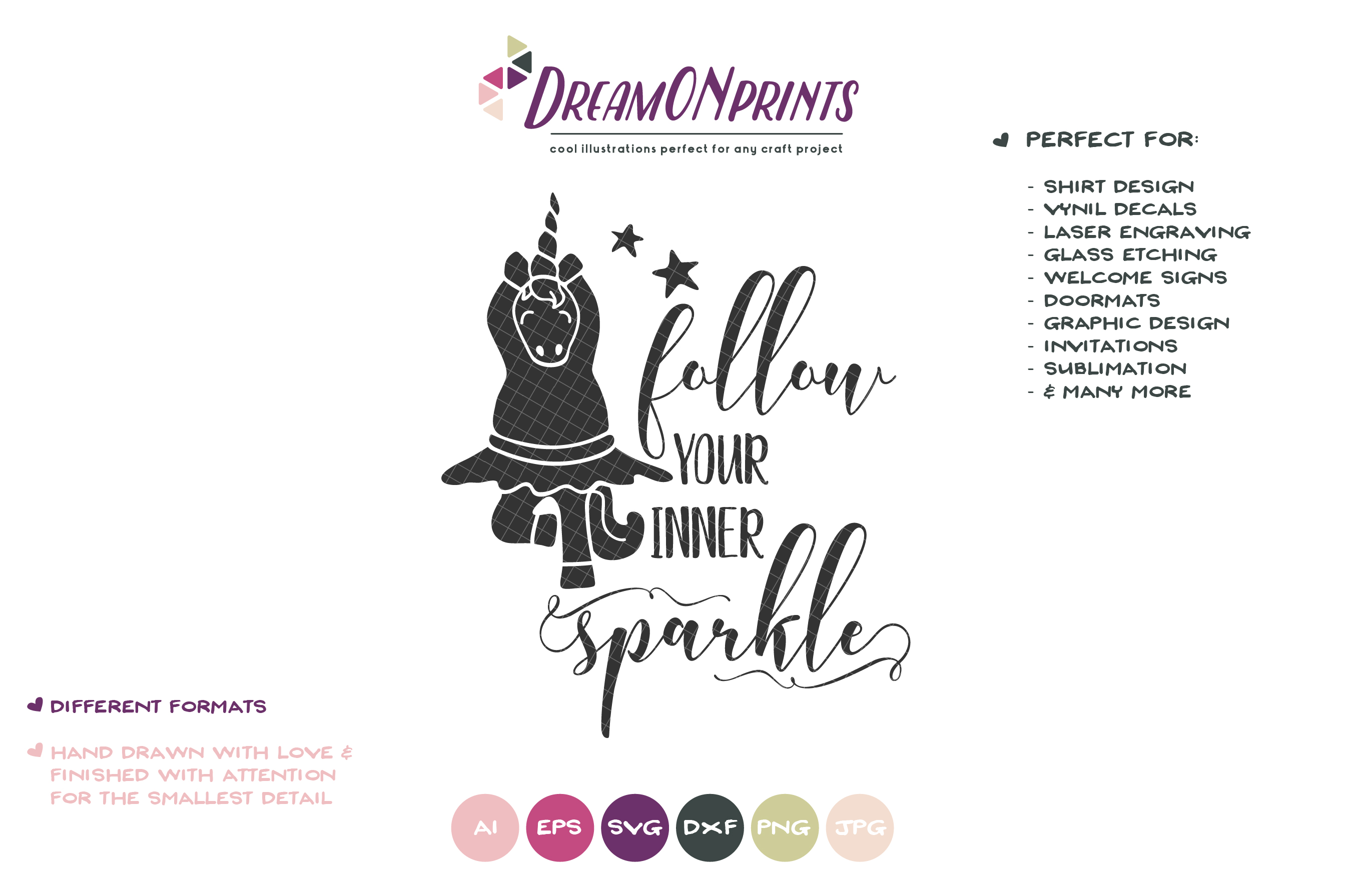 Follow Your Inner Sparkle | Unicorn SVG | Dancing Unicorn example image 2