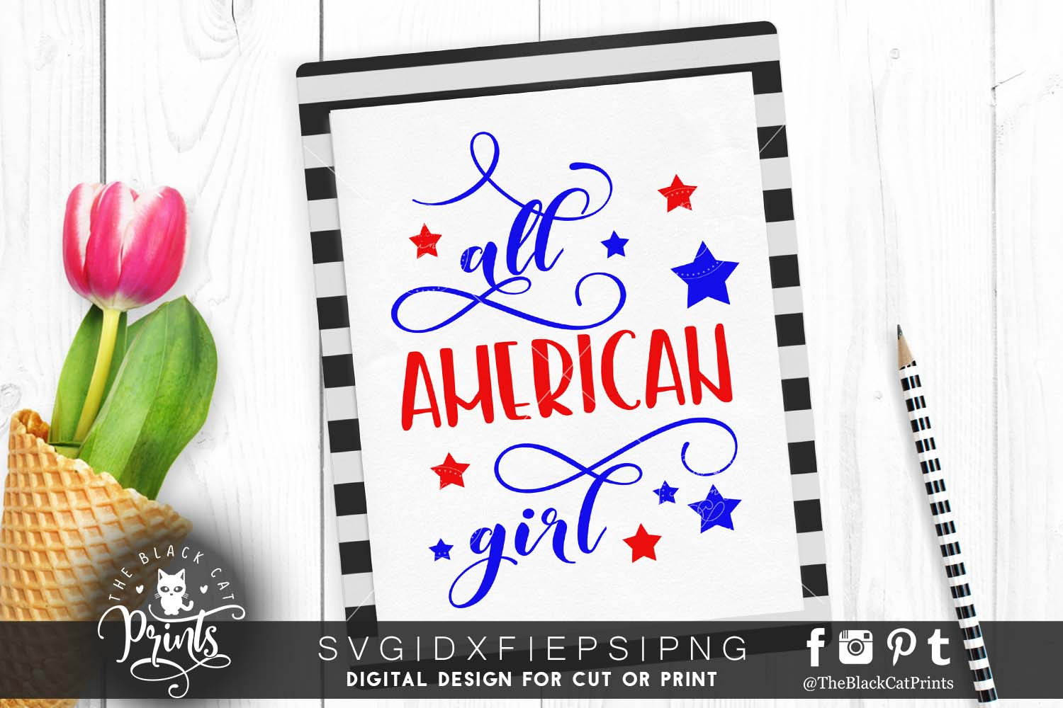 All American girl SVG PNG EPS DXF example image 1