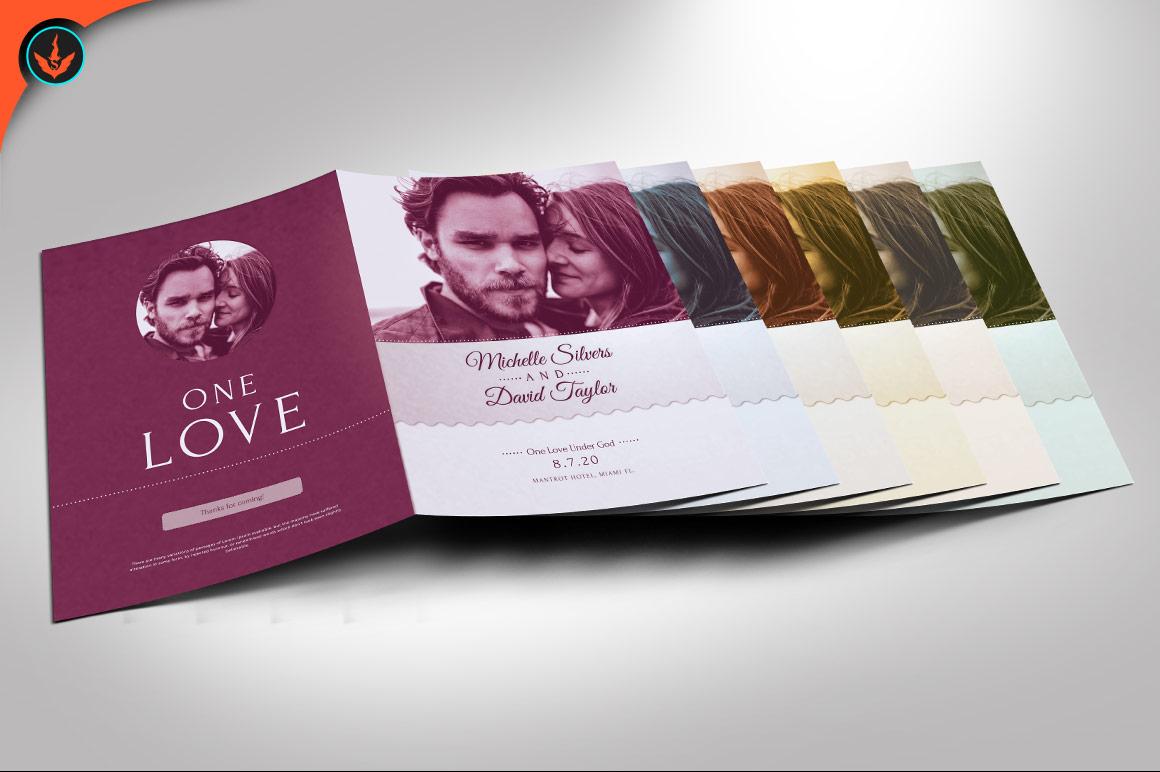Retro Wedding Program Photoshop Template example image 4