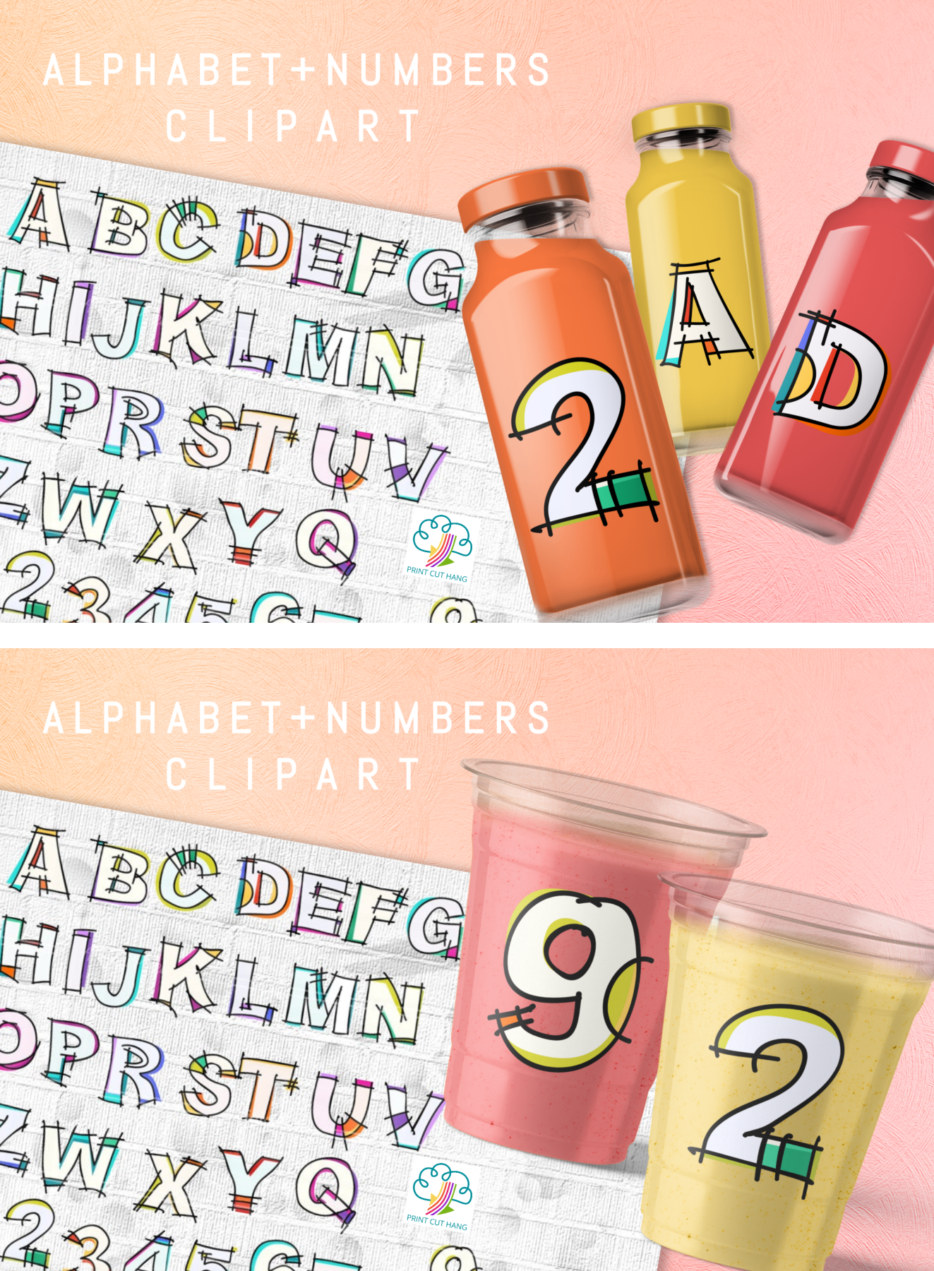 Hand Sketched Alphabet and Numbers 0 to 9 Clipart PNG Files example image 4