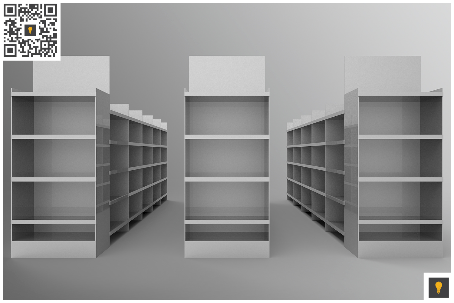 Aisle with Gondola Store 3D Render example image 5