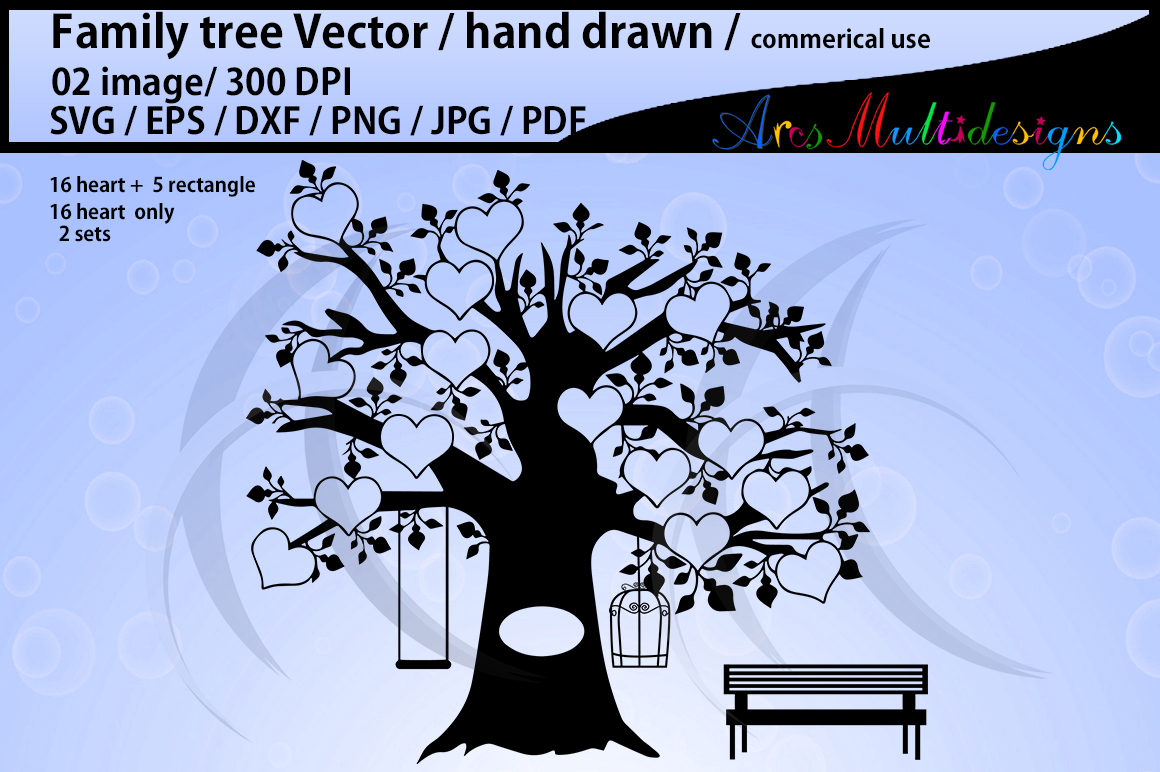 family tree clipart SVG, EPS, Dxf, Png, Pdf, Jpg / family tree silhouette / hand drawn family tree svg / vector / Commerical & personal use example image 1