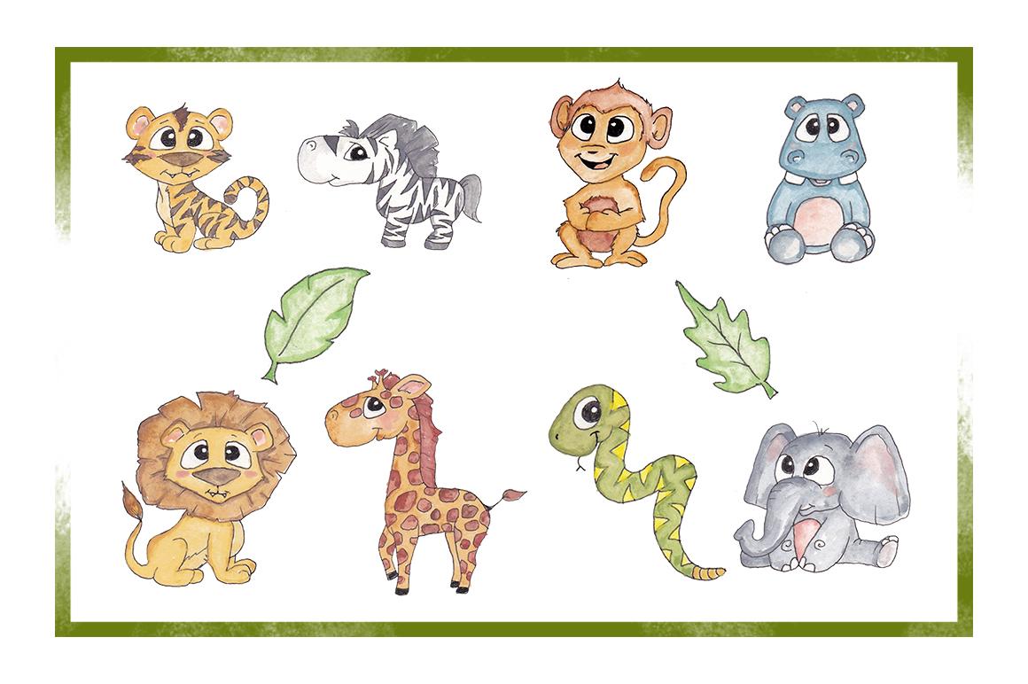 Zoo Clipart Watercolor Clipart Animal Clipart Cute Cartoon Zoo