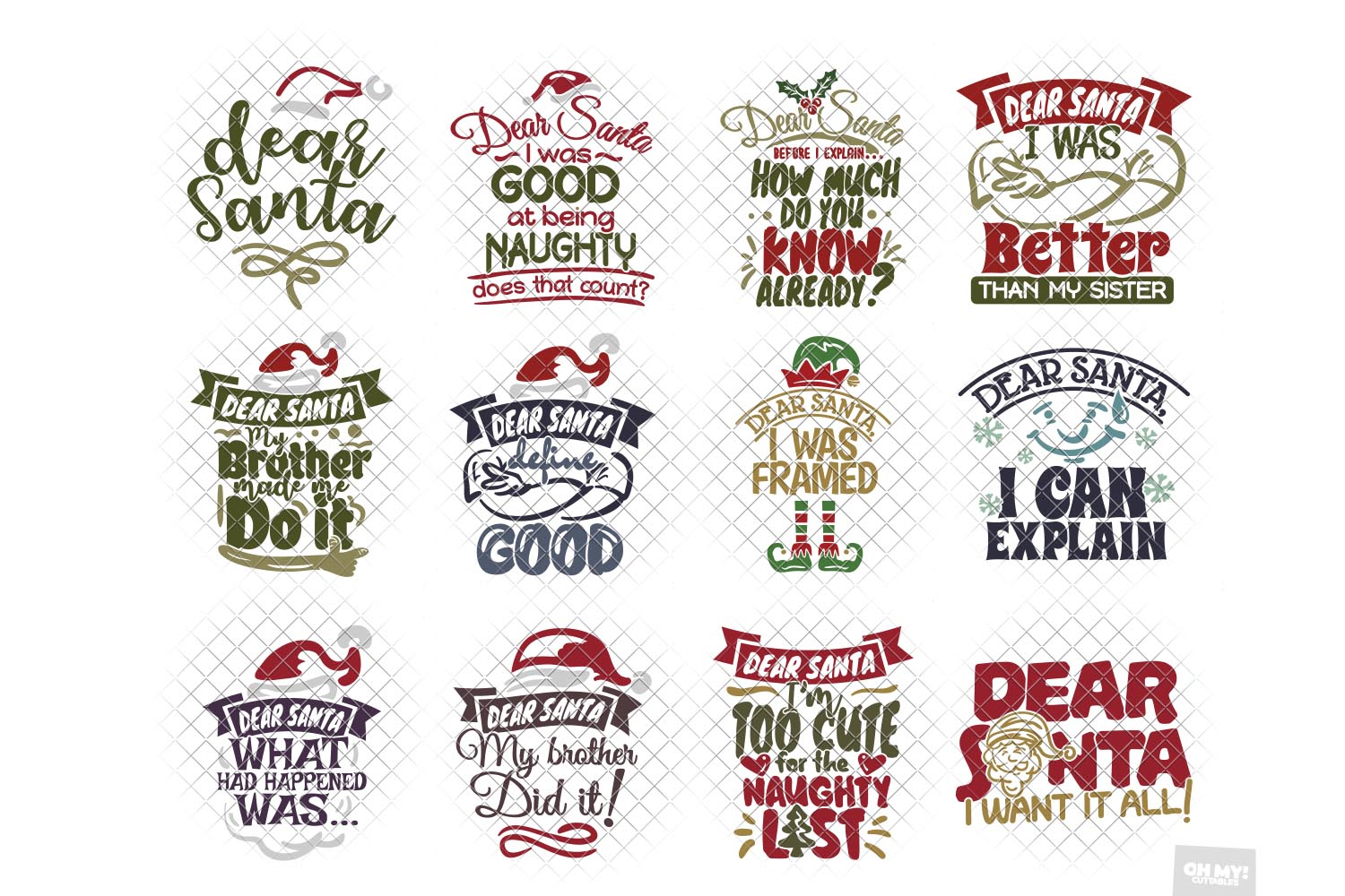 Dear Santa SVG Bundle Christmas Phrases with DXF/PNG/JPG/EPS example image 2