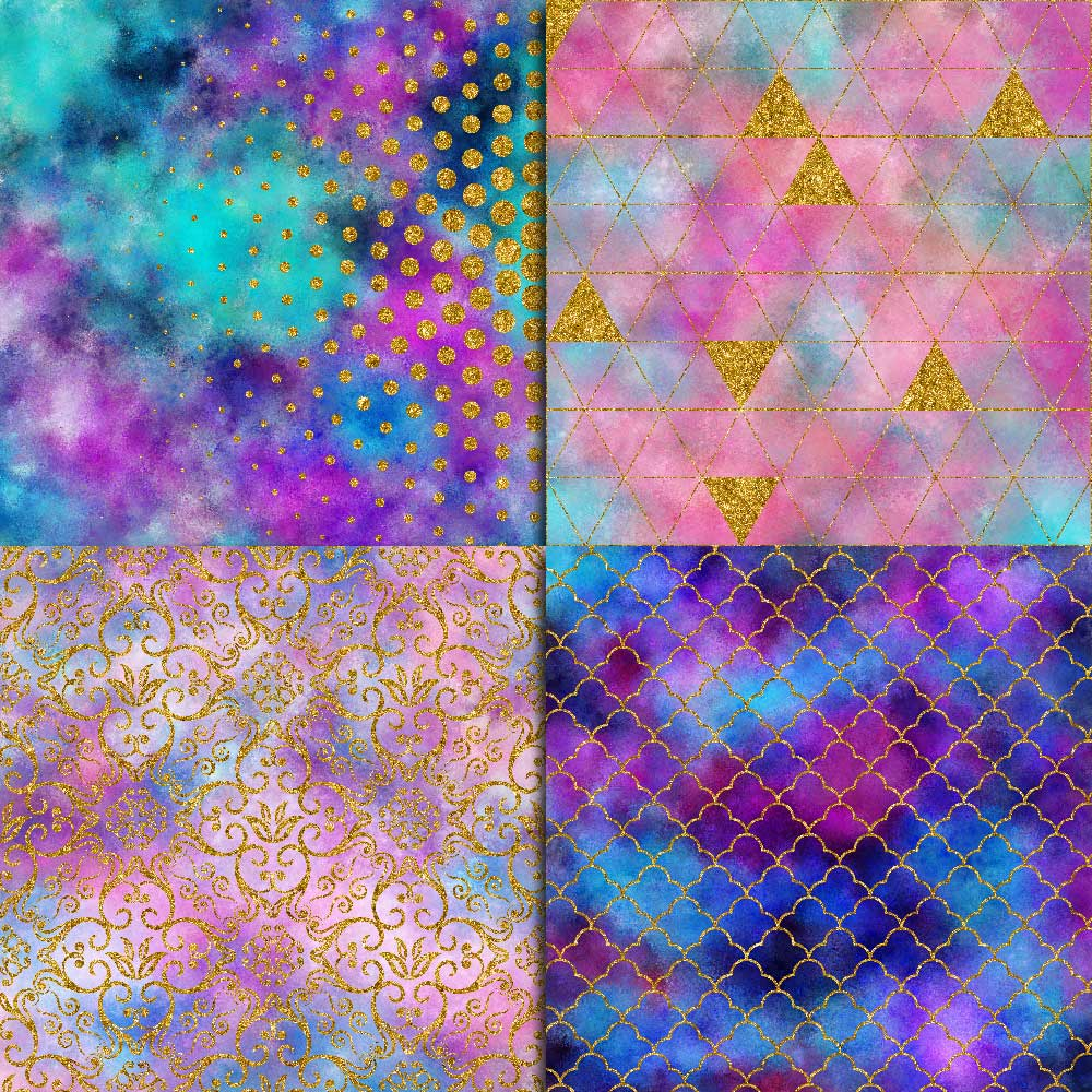 Galaxy & Gold Glitter Digital Paper example image 4