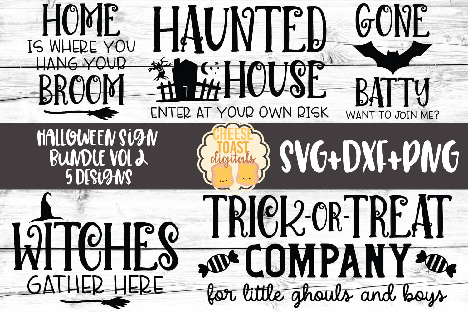 Halloween Sign Bundle Vol 2 - Fall SVG PNG DXF Cut Files example image 1