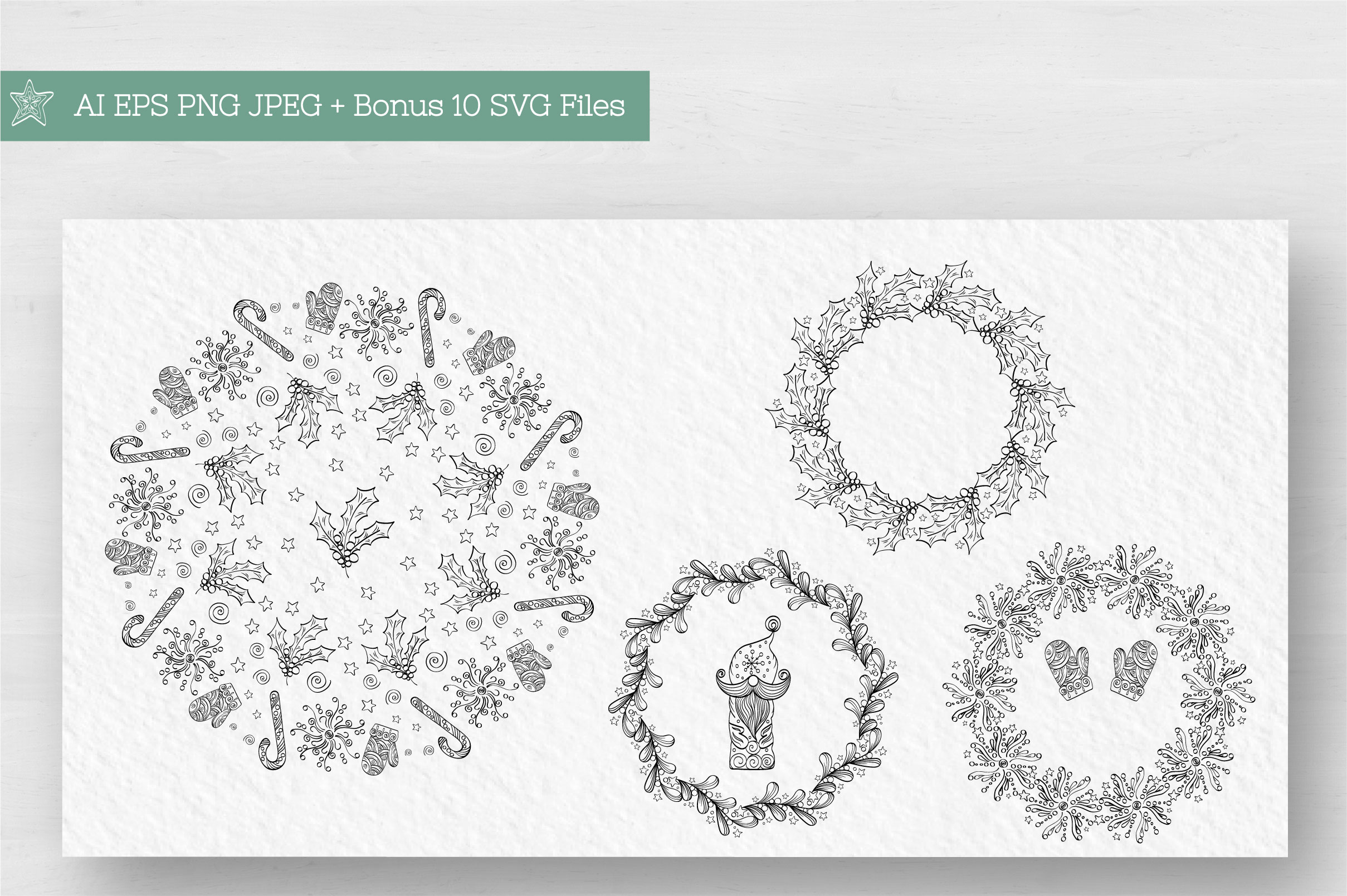 Doodle Christmas Vector Collection example image 4