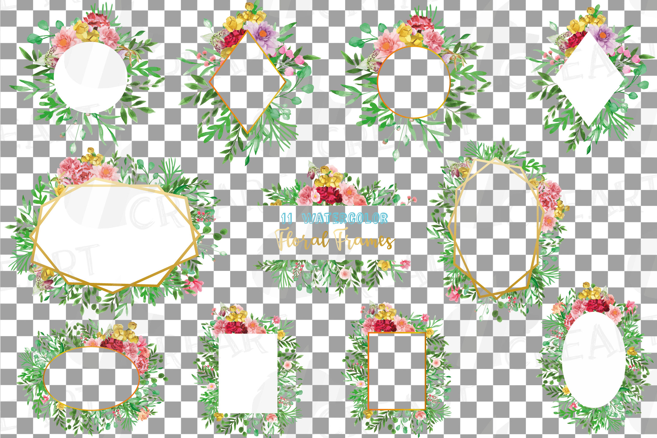 Watercolor floral floral frames and borders clip art pack example image 14