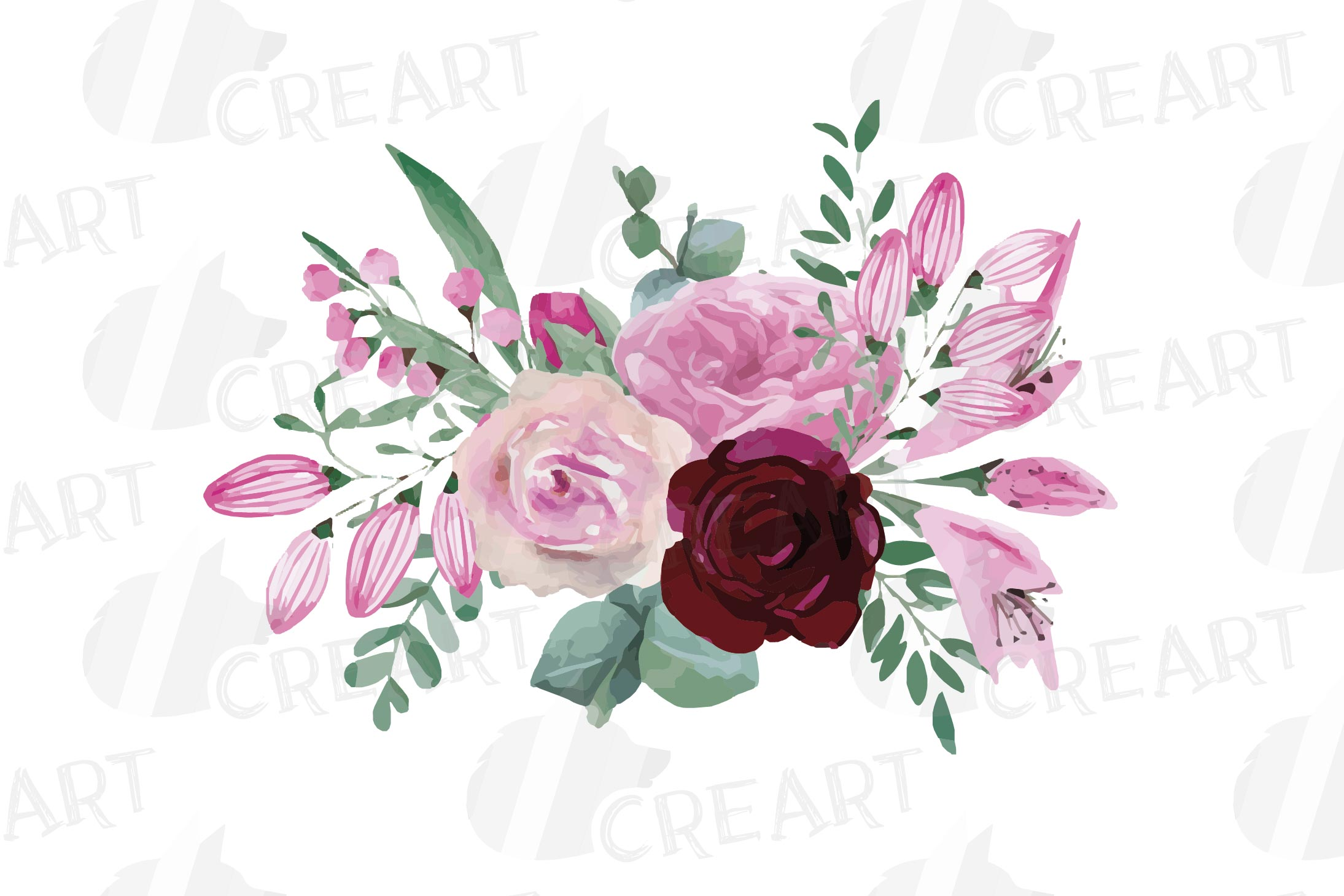 Watercolor elegant floral bouquets 2, rose, anemone decor example image 7