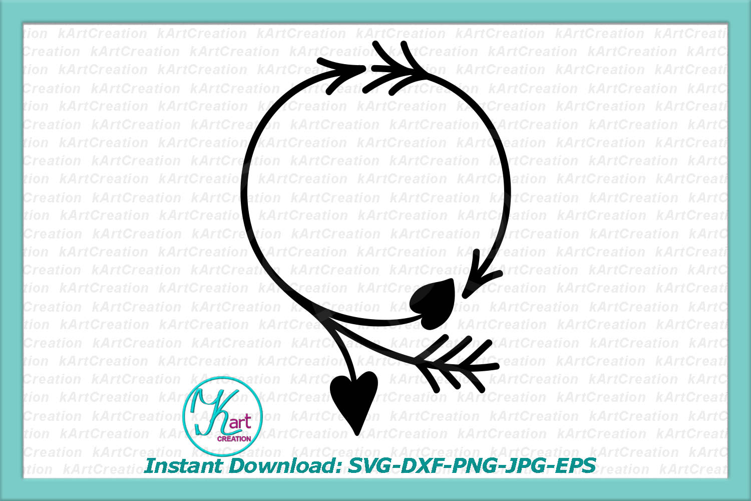 Valentines day wreath circle monogram svg dxf cutting file example image 2
