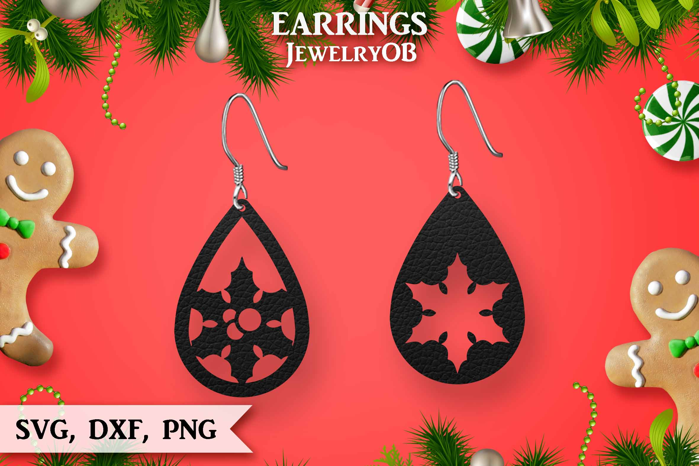 Christmas Earrings, Cut File, SVG DXF PNG, Teardrop, Berry example image 1