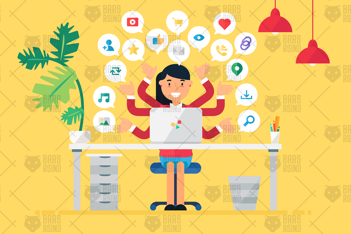 Online Business Workspace With Woman example image 1