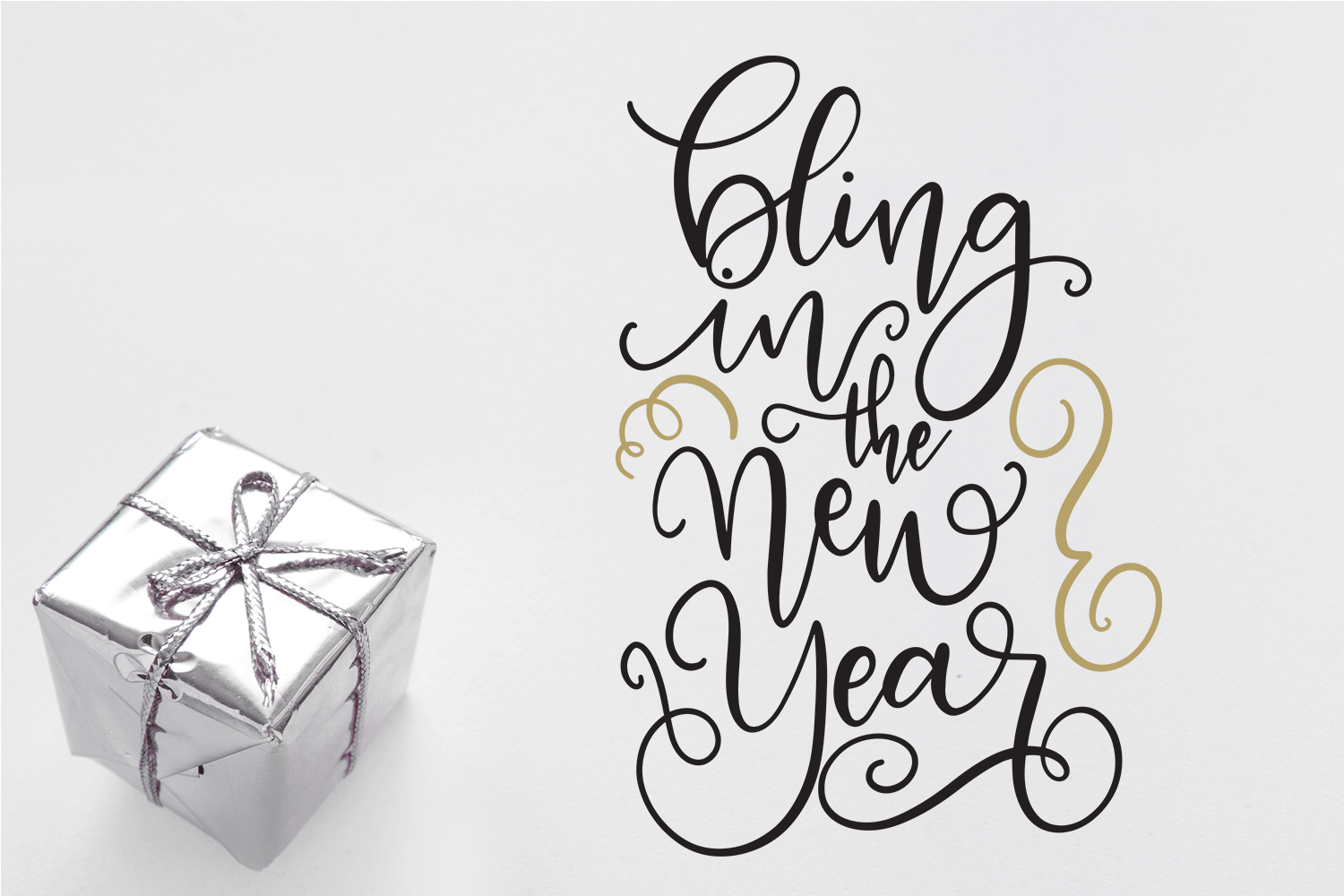 New Year SVG Bundle- Hand-lettered - 11 SVG Cut Files example image 4